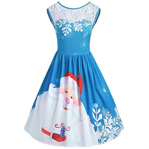 (KPILP Cocktailkleide Frauen Oansatz Formelle Kleidung Weihnachten Elegante Spitzeneinsatz Weihnachtsmann Druck Party Prom Rockabilly Kleid(A-blau ,EU-48/CN-XL))