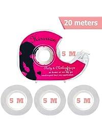 Hirsrian - Cinta adhesiva de doble cara con 3 rollos de cinta de repuesto y un dispensador para vestido, ropa secreta (5 metros cada una)