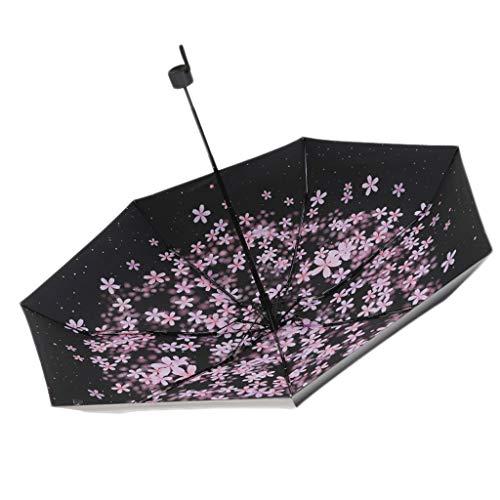 Sonnenschirm Weibliche Sonnenschirm 50% Sunny Umbrella Doppelt verwendbarer Kleiner tragbarer Regenschirm 100 * 62cm mattierter Griff (Color : Black, Größe : 100 * 62cm)