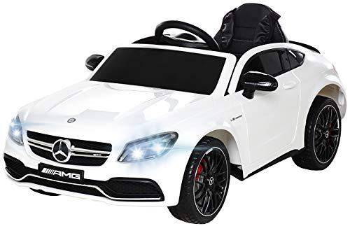 Actionbikes Motors Spielzeug Elektroauto Mercedes Benz C63 - Lizenziert - Ledersitz - Rc Fernbedienung - Elektro Auto für Kinder ab 3 Jahre - Kinderauto (Weiß) (Motor-autos Für Kinder)