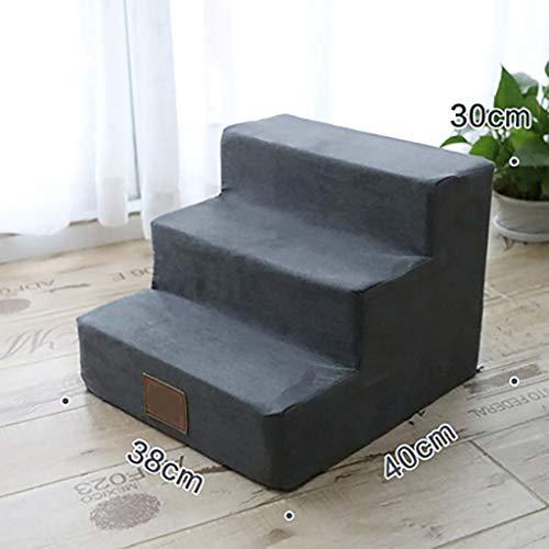 3-steps Pet Pet Treppen Schwamm Lightweight Rutschfeste Pet Bett-leiter Schlafsofa Atmungsaktive Für Katzen Hunde Mit Hüftdysplasie-grau 38x40x30cm(15x16x12inch)
