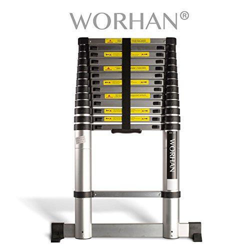 WORHAN® Echelle 4.1m Télescopique PRO Aluminium Anodisé Solide Extensible Avec une Barre Stabilisatrice 410cm