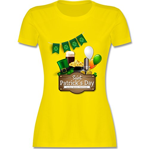 Kostüm Irland Oktoberfest - St. Patricks Day - Saint Patrick's Day Happy Music Festival - XXL - Lemon Gelb - L191 - Damen Tshirt und Frauen T-Shirt