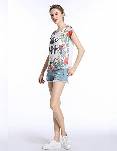 MODETREND Damen Shirt Kurzarm mit Blüte Drucken Rundkragen Oberteile Tops Sommer T-Shirt Mehrfarbig