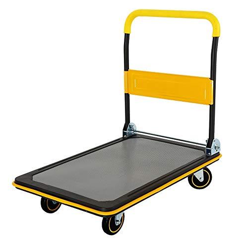 Küchenwagen Plattformwagen, Lastkapazität: 150/300 kg, Faltbare Griff, gelb, zusammenklappbares Karrens, (Farbe : Gelb, größe : 48×72×83cm)