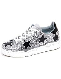 138dae6581b98 Chiara Ferragni F5388 Sneaker Donna Glitter Eco Leather Black Silver Shoe  Woman