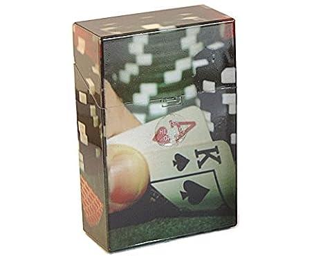 Etui à cigarette, rangement pour paquet 20 cigarettes, porte cigarette homme/femme, boite cigarette design et couleur au choix, housse cigare, Etui cigare plastique (Poker cartes)