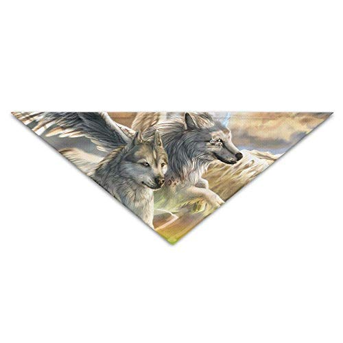 dfegyfr Fantasy Wolf Flying Over The Rainbow Bridge Triangle Pet Scarf Dog Bandana Pet Collars for Dog Cat - Birthday Bandana Bibs Triangle Head Scarfs ()