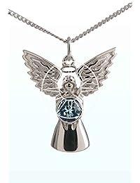 Elementos de cristal Swarovski plata de ley piedra Natal ángel de la guarda collar–de marzo de–Aguamarina