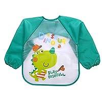 Baby Bibs Waterproof EVA Full Sleeve Bibs Children Apron Long Sleeve Feeding Bibs Kids Eating Breastplate Kid Baby Cloth Stuff green