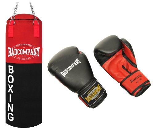 """Deluxe Box-Set inkl. Canvas Boxsack 80 x 30cm gefüllt, Vierpunkt-Stahlkette und PU Boxhandschuhe """"Red Dragon"""", 12 Unzen (OZ)"""
