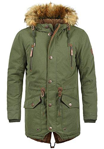 SOLID Vidage Herren Parka lange Winterjacke mit Kapuze und Fellkragen aus hochwertiger Baumwollmischung, Größe:L, Farbe:Ivy Green (3797) Leder Jacke Fellkragen Herren