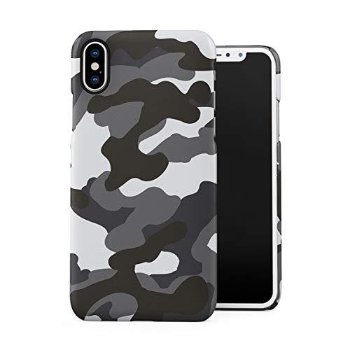 Grau Snow Camouflage Camo Dünne Handy Schutzhülle Hardcase Aus Hartplastik Hülle Kompatibel mit iPhone X, iPhone XS Handyhülle Case Cover -