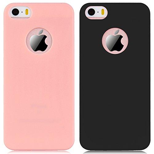 iPhone 5 / 5S / SE Hülle, Yokata Einfarbig Jelly Weich Silikon Gel Case Ultra Slim Matte Cover Anti-Fingerprint Schutzhülle Sehr Dünn Handyhülle - Rosa Schwarz + Rosa