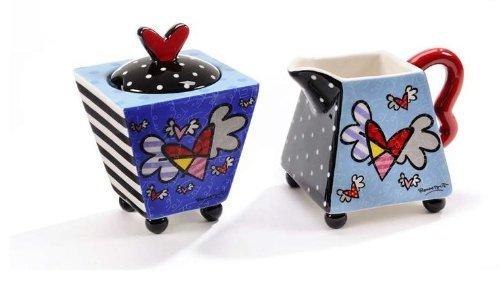 ROMERO BRITTO Milchkanne und Zuckerdose Set Flying Heart Herz 5 Creamer