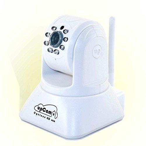 upCam Cyclone HD eco IP Kamera mit Nachtsicht (mit OmniVision HD Sensor 1280x720, WLAN, Audio, App, Cloud, Weitwinkel Objektiv 1 MP) - Deutscher Hersteller und Support