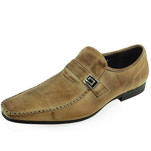 Beston Herren Leder Casual Moc Toe Mokassins Kleid Loafer (Color : Taupe, Size : 43 EU) Casual Moc Toe Oxford