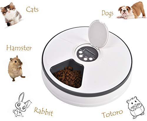 Ygjt distributori di cibo automatico per animali domestici per gatti/cani di piccola taglia con timer digitale automatico per ferie da viaggio 6 scomparti separati per alimenti