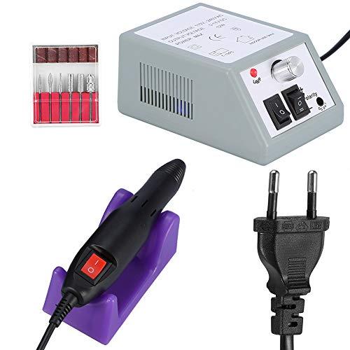 Qiterr trapano elettrico per unghie, kit trapano per levigatura pedicure manicure file macchina elettrica professionale(04# grigio)