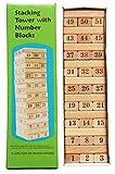 TOWO Torre in Legno con Blocchi di Legno e Numeri - Mattoncini di Legno Impilabili e Sovrapponibili - Torre Traballante con 54 Blocchi di Legno - Gioco di Abilità per Bambini e Adulti