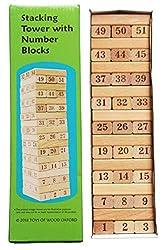 Toys of Wood Oxford Holz Wackelturm - Geschicklichkeitsspiel für Erwachsene und Kinder ab 6 Jahre - 54-teilig
