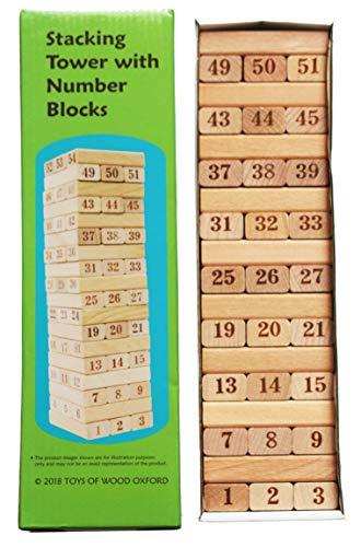 Toys of Wood Oxford Jenga Tour d'empilage numérotée - Jeu de Societe Adultes - Jeux Enfant d'empilage en Bois - Jeu de logique pour Adultes et Enfant - Jeu Montessori pour Apprendre à Compter