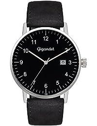 Gigandet Quarz Herren-Armbanduhr Minimalism Uhr Datum Analog Lederarmband Silber Schwarz G26-003