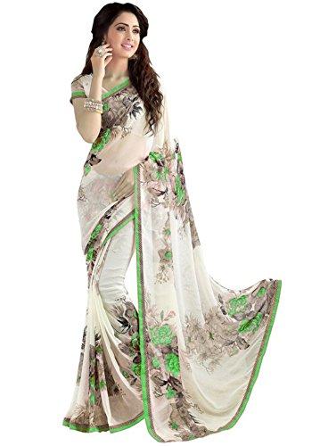 Vivera Women's Georgette Saree With Blouse Piece (Vrvrprintflower_Green_Green)