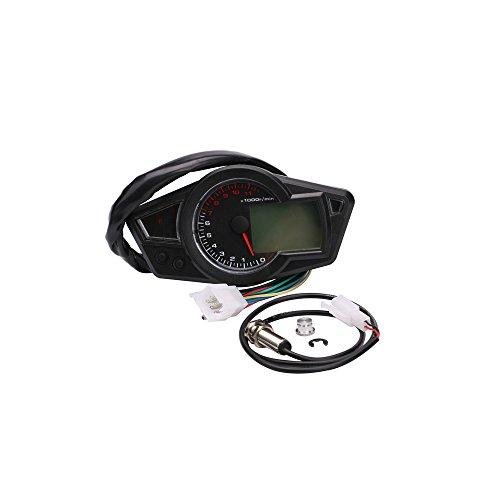 KKmoon Multifunktionale Kilometerzähler Motorrad LCD Meter Digitale Wasserdichte Tachometer Tankanzeige Tachometer Monitor