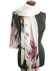 Nella-Mode traumhaft schöner SEIDENSCHAL, weiss mit künstlerischem floralem Design; feiner modischer Schal aus 100% Seide, handrolliert