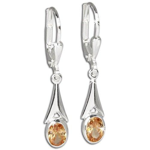 SilberDream Damen-Ohrringe Zirkonia bernstein 925 Sterling Silber Ohrhänger SDO514N