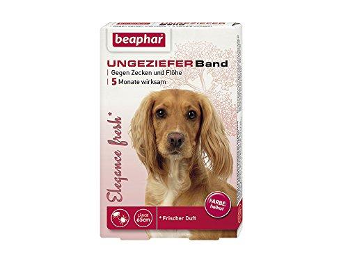 Elègance fresh Ungezieferband Hund | Gegen Zecken und Flöhe | 5 Monate Zecken- & Flohschutz für Hunde | Frischer Duft | Farbe: Hellrot | Länge: 65cm