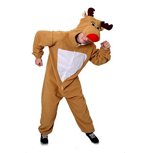 Ein Rentier-Rudolf- Onesie FÜR Erwachsene KOSTÜM Verkleidung = ERHALTBAR in 5 Verschiedenen GRÖSSEN =Tolle WEIHNACHTSVERKLEIDUNG= Fasching Karneval= Alles in Einem Jumpsuit = Medium