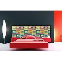 Cabecero Cama PVC Retro Pop Casettes 150x60cm | Disponible en Varias Medidas | Cabecero Ligero,