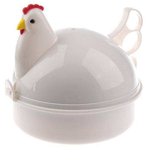 SODIAL(R) Plastico Pollo Microondas Caldera 4 Huevo cazador furtivo del vapor de la caldera Herramienta Cocina Cocina