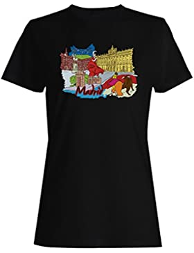 Hecho en madrid spain travel world funny capital camiseta de las mujeres uu48f