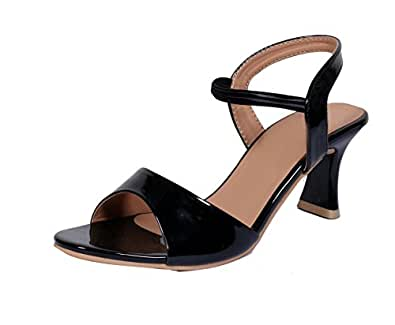 Indistar Womens Fashionable & Stylish Party Wear Casual and Formal High Heel Sandals for Women-Black-Size-10
