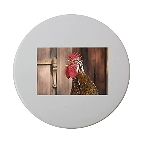 Ceramic round coaster with Close-up view of a cock crowing