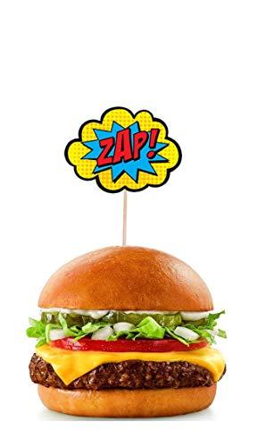 41Q2RZEJ84L - AK Giftshop Call out Speak - Burbujas de Dibujos Animados de superhéroes para cumpleaños, Eventos, Comida para Fiestas, Cupcakes, Palillos y Decoraciones para Banderas de Alimentos (Pack de 14)