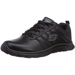 Skechers Flex AppealPure Tone - zapatilla deportiva de cuero mujer, color negro, talla 37