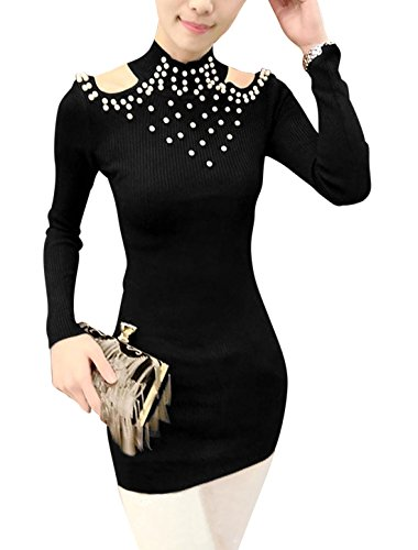 Femme Pull-over Épaule Ajourée Faux Perle Décor Tunique Tricot Chemise Noir