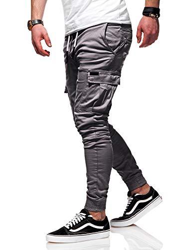 behype. Herren Cargo Chino-Hose Jogger Jeans-Hose 80-8393 Dunkelgrau W32 Mens Jogger