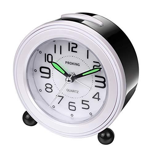 Analoger Wecker, Mini Nicht Tickendes Bett Reise Silent Wecker mit Lautem Alarm, Nachtlicht, Snooze, Batteriebetriebene Weckuhr (Schwarz)