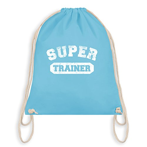 Fußball - Super Trainer Vintage - Unisize - Hellblau - WM110 - Turnbeutel I Gym Bag (Hellblau Trainer)