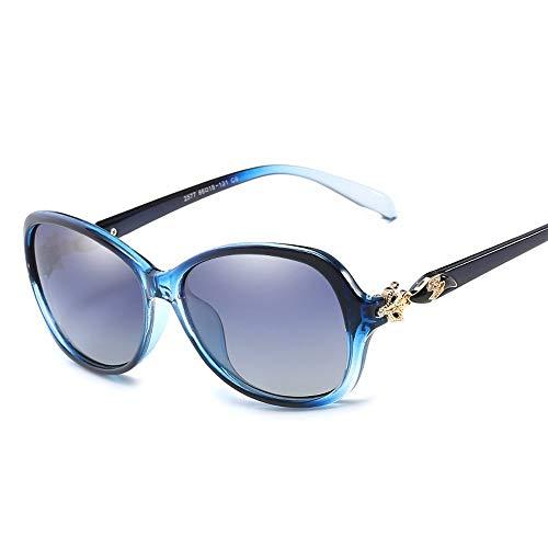 Elegante Temperament Dame großen Rahmen Sonnenbrille Mode polarisierte Sonnenbrille Brille (Color : Blau, Size : Kostenlos)