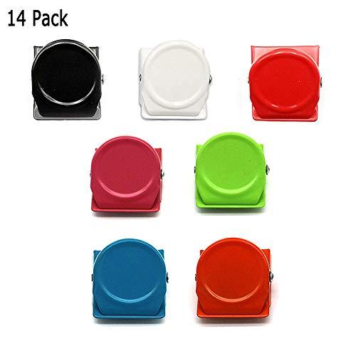 Magnete Clips, 14 Stück 7-Farben-Memo-Metallclips. Kühlschrank Quadratischer Magnetischer Metallclip Zum Magnetischen Verkleben Von Dokumenten, Whiteboard-Wandanmerkungen, Küchenhaushalt (Magnetclip) - Quadratische Magnete