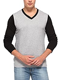 PepperClub Men's Cotton Dual Colour V-Neck Full Sleeve Black And Grey T-shirt