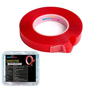 amiciTools Double Sided Transparent Adhesive Tape Heavy Duty Glue Weatherproof (20mm X 3mtr) (Single Piece)