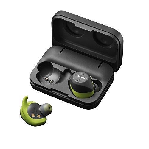Jabra Elite Sport Casque Audio sans fil avec Moniteur cardiaque / Traqueur d'activité / Coaching Vocal - Gris/Vert + boitier de charge portable