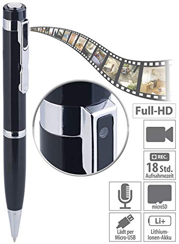 Somikon Kugelschreiber Kamera: Kugelschreiber-Videokamera mit Blauer Mine und Foto-Funktion, Full HD (Kugelschreiber Cam)
